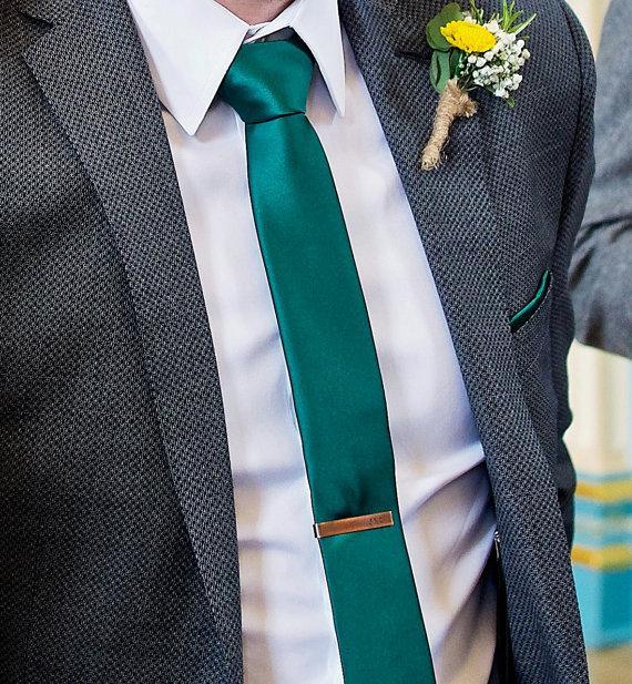 Hochzeit - Copper Tie Bar, Tie Clip, Groomsmens Gift, Men's Accessories Gift, Antiqued Copper