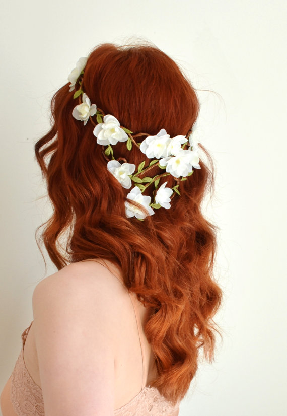 Wedding - White flower crown, woodland wedding head piece, floral hair wreath, floral crown, bridal hair accessory