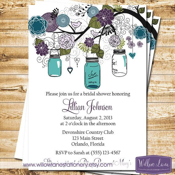 Mason jar bridal shower invitation mason jar bridal shower invite mason jar bridal shower invitation mason jar bridal shower invite peacock green purple blue mason jar wedding shower 1243 printable filmwisefo