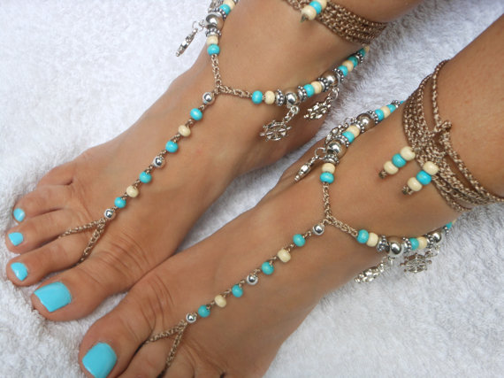 Mariage - Crochet Barefoot Sandals Beach Wedding  Yoga Shoes Foot Jewelry  Turquoise Cream Silver