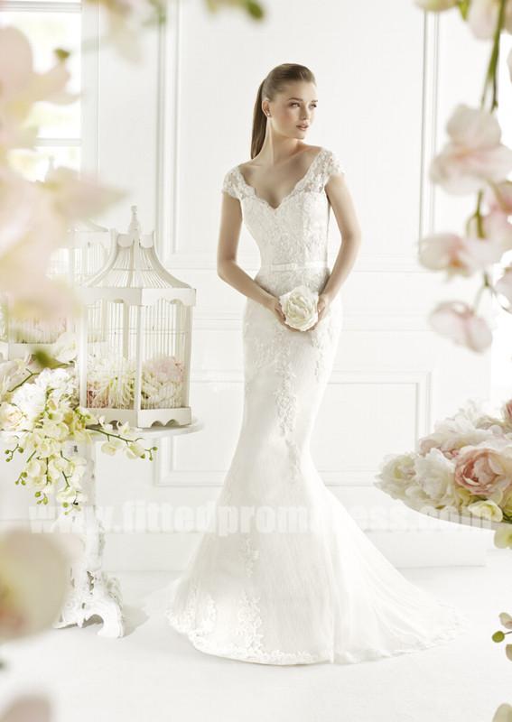 Mariage - Avenue Diagonal Gali Cap Sleeve Sheath Wedding Dresses