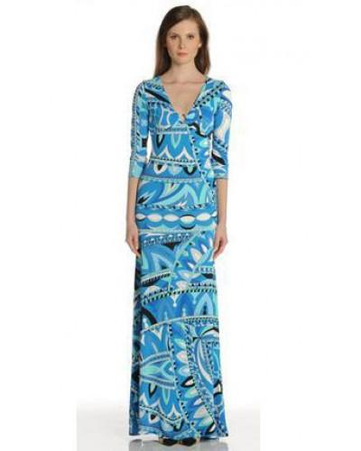 Emilio Pucci Blue Print V-Neck Long Dress For Cheap #2329817 - Weddbook