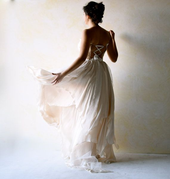 Boho wedding dress alternative wedding gown strapless for Backless boho wedding dress