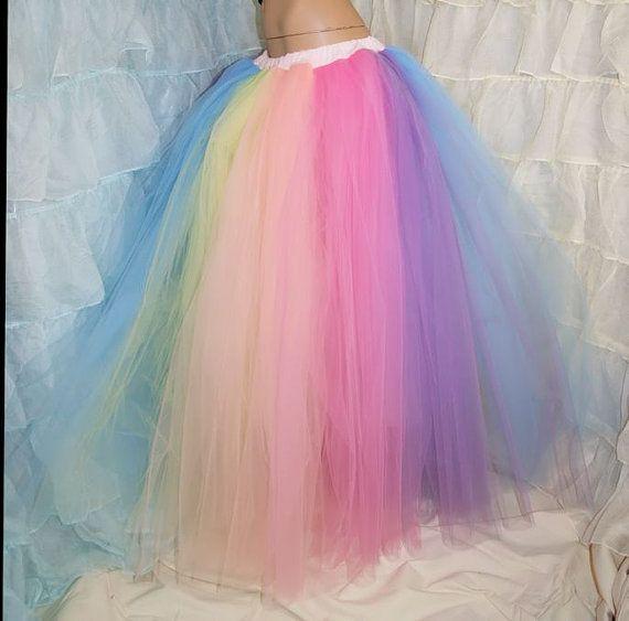 Свадьба - Pastel Rainbow Faerie Formal Alternative Wedding Skirt Fae All Sizes - MTCoffinz
