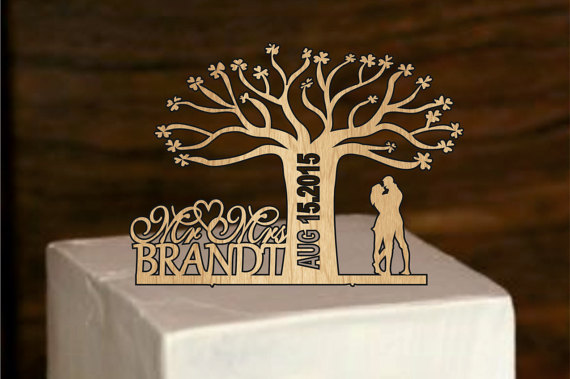 Wedding - Rustic Wedding Cake Topper, Personalized cake topper, Tree of life wedding cake topper, Monogram Cake Topper, Bride and Groom, mr and mrs