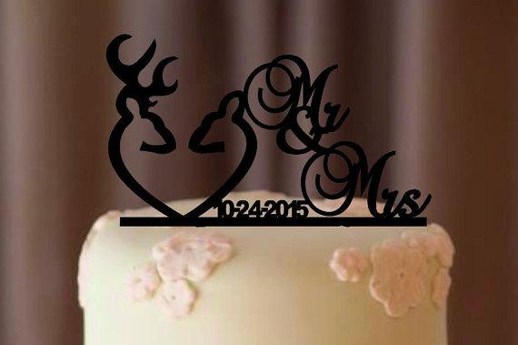 Boda - Deer Wedding Cake Topper - Country Wedding Cake Topper - rustic cake topper - shabby chic- redneck - cowboy - outdoor - western - acrylic