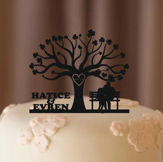 Wedding - Custom Wedding Cake Topper, Tree of life wedding cake topper, Personalized cake topper, Monogram Cake Topper, Silhouette cake topper, deer