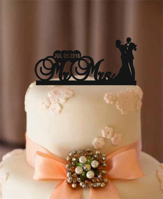 زفاف - personalize wedding cake topper - bride and groom - silhouette wedding cake topper , cake topper , monogram cake topper - rustic cake topper
