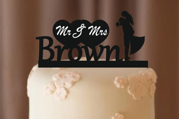 Hochzeit - personalize wedding cake topper - bride and groom - silhouette wedding cake topper , cake topper , monogram cake topper - rustic cake topper