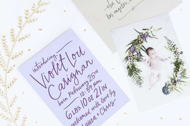 Wedding - Violet's Hand Lettered Birth Announcements