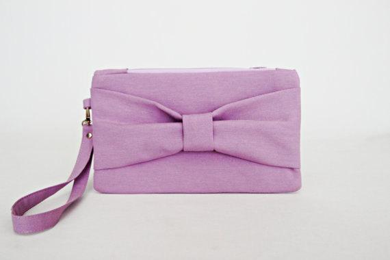 زفاف - OPENING SALE - Lilacs bow wristelt wedding clutch ,bridesmaid clutch ,casual clutch ,Evening bag ,zipper pouch .make up bag