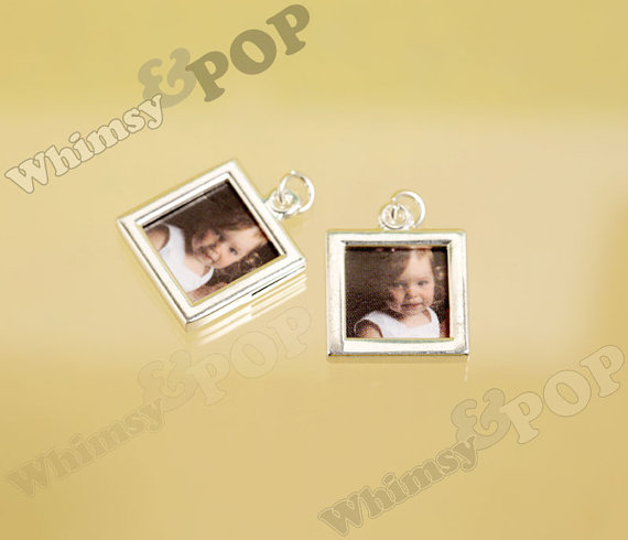 Wedding - Silver Double-Sided Square Photo Charm, Cube Photo Frame Pendant, Bouquet Charm, Photo Charm, Fits 12mm Photo (6-6B)