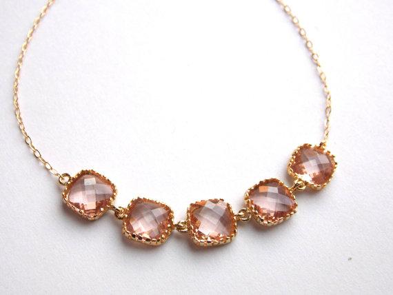 Mariage - Peach Bracelet, Glass Bracelet, Gold Bracelet, 14K Gold Filled Bracelet, Champagne, Wedding Jewelry, Bridesmaids Bracelet, Bridesmaid Gifts