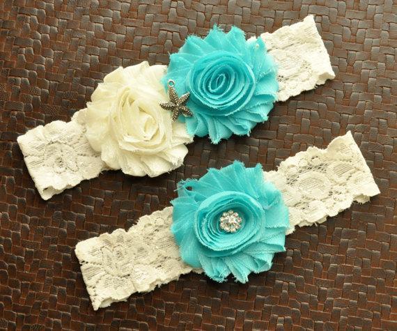Свадьба - Starfish Wedding Garter Set, Starfish Bridal Garter Set, Ivory Lace Wedding Garter, Starfish Garter, Nautical Garter, Beach Garter, Ocean