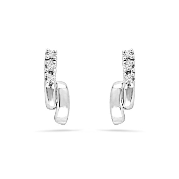 Свадьба - Earrings For Women In White Gold or Sterling Silver, Diamond Earrings, Bridal Jewelry or Anniversary Gift