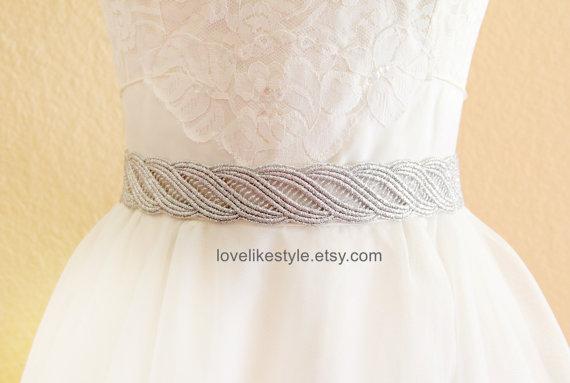 Wedding - Silver  Metallic Lace with Gray Satin Sash , Bridal Sash, Bridesmaid Sash ,SH-31
