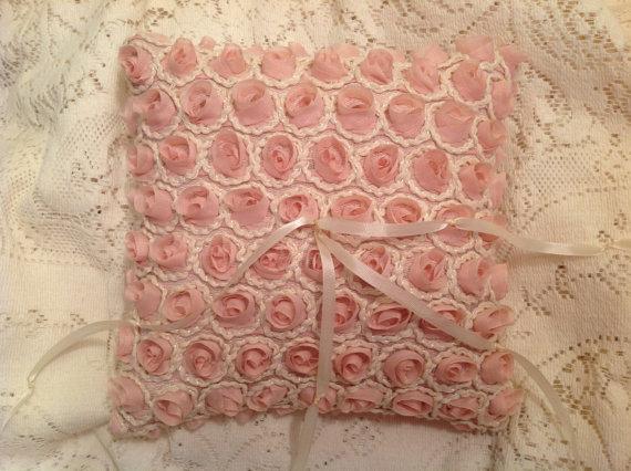 Wedding - RING BEARER pillow shabby chic silky PINK roses pillow