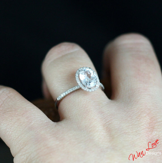 Mariage - White Topaz & Diamond Oval cut Halo Engagement Ring 1ct 7x5mm 14k 18k White Yellow Rose Gold-Platinum-Custom made-Wedding-Anniversary-Basket