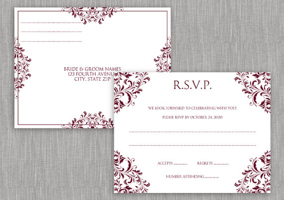 Wedding Rsvp Postcard  Instant Download  Editable Text  Nadine