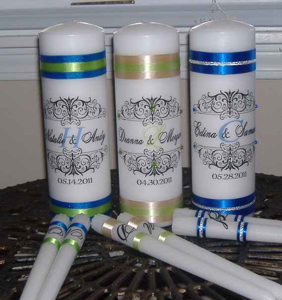 Mariage - Personalized Unity Candle Set with Monogram, Unity Candle, Monogram Unity Candle, Crystals