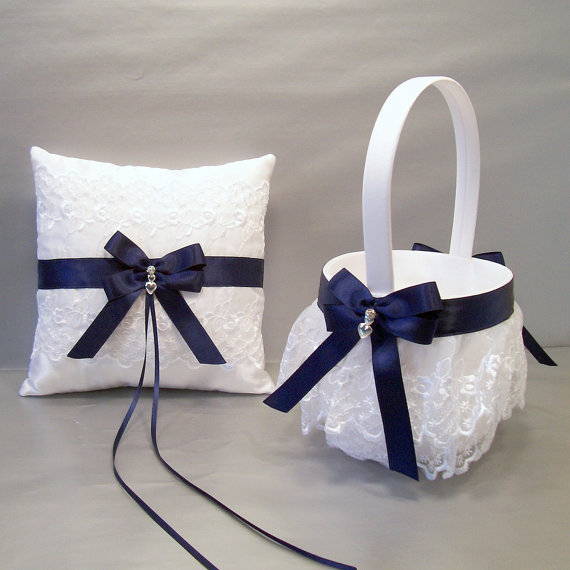 5a3b26a2782c5 Navy Blue Wedding Bridal, Flower Girl Basket and Ring Bearer Pillow Set on  Ivory or White ~ Double Loop Bow & Hearts Charm ~ Allison Line