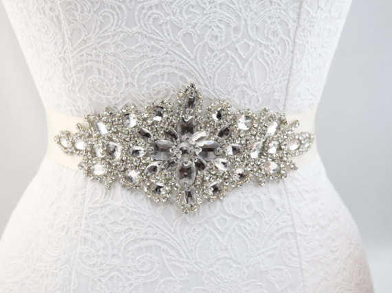 Hochzeit - Large Rhinestone Bridal Belt - Wedding Belt - EYM B009
