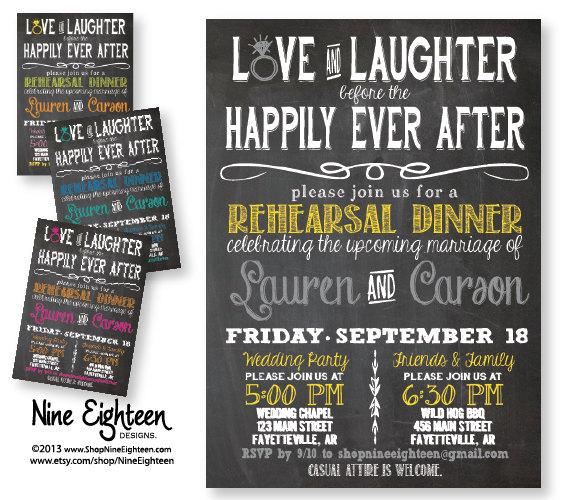 3ffb96f136f2 Love   Laughter Before Happily Ever After Rehearsal Dinner Invitation.  Custom PRINTABLE PDF invitation. Choose Colors