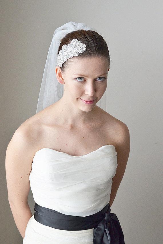 "Mariage - Wedding veil, bridal veil, one tier light ivory wedding veil, cut edge, soft bridal tulle, fingertip length, minimal fullness 55"" wide"