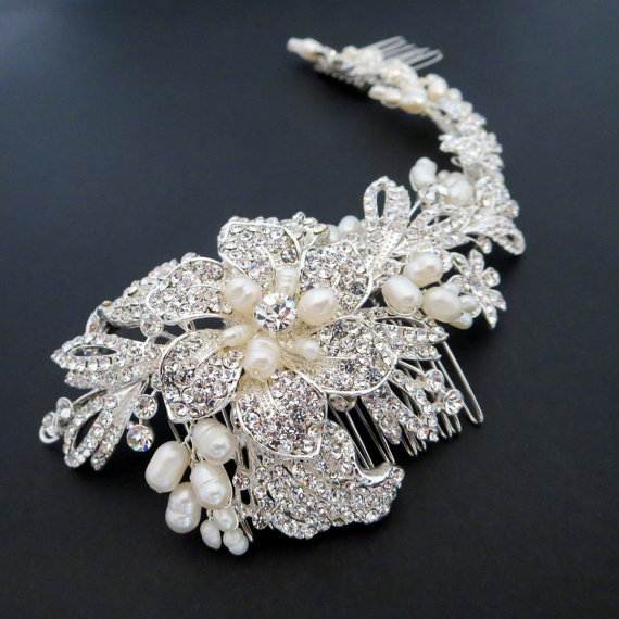 Bridal Headpiece Hair Vine Pearl Wedding Large Comb Rhinestone Statement