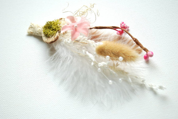 Mariage - nature boutonniere, brooch, outdoor woodland weddings, weddings accessories, nature pin, groom, groomsmen pin, spring