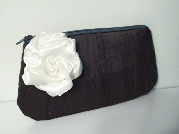 Hochzeit - Amelia Clutch w/Rose in Silk Dupioni (choose colors) Monogram available-Bridesmaid gifts, bridesmaid clutches, bridal clutches wedding party