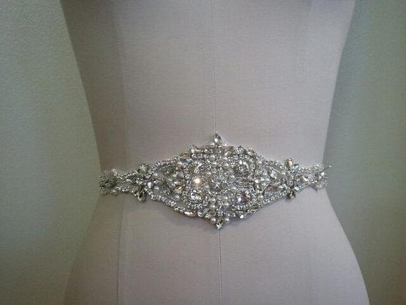 Mariage - SALE - Wedding Belt, Bridal Belt, Sash Belt, Crystal Rhinestone & Pearl Sash - Style B70019