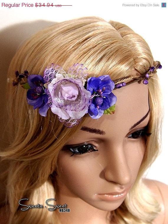Mariage - 40% SALE Purple Flower Headband, Tiara, flower headband, bridal headband, woodland Headband, wedding headband, Bridal headpiece, flower girl