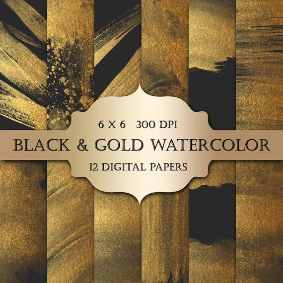 Gold Watercolor Digital Papers Black Gold Glitter