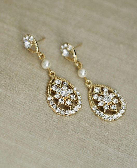 Mariage - BRIANA (with pearl) - Vintage style Gold bridal earrings - Rhinestone dangle earrings - art deco, bridal jewelry, wedding earrings