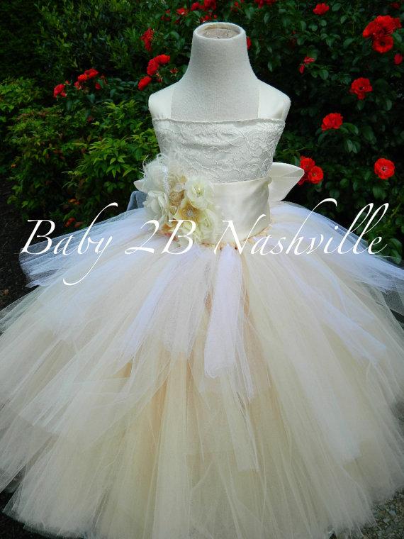 Mariage - Vintage Ivory Lace Flower Girl Dress, Rustic Wedding Flower Girl  Dress, Ivory Satin with Chiffon Flower Sash Tutu Dress  All Sizes Girls