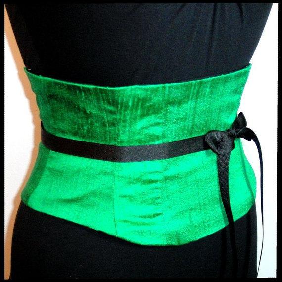 Wedding - Waist Cincher Corset Belt Emerald Green Silk Any Size B