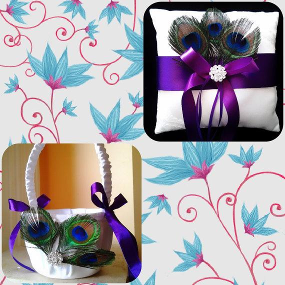 Wedding - peacock wedding flower girl ring bearer pillow basket set Handmade  bride wedding party decoration9.99