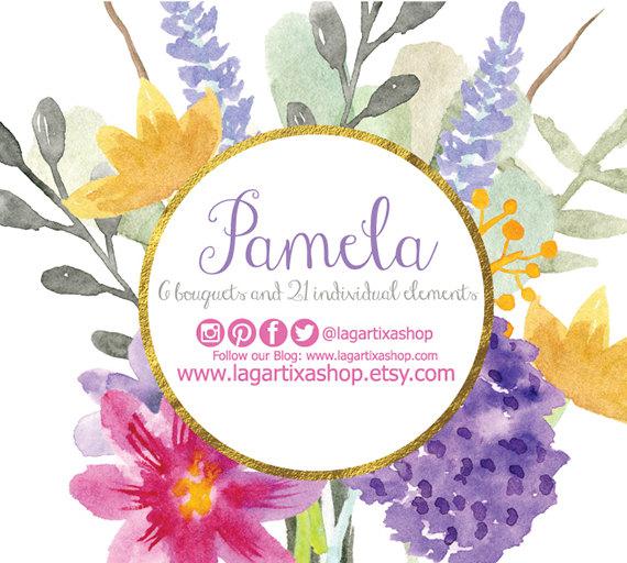 Mariage - Watercolor clipart,  Floral PNG, wedding bouquet, arrangement, bouquet, frames, digital paper, blue flowers, bridal shower, for blog banner