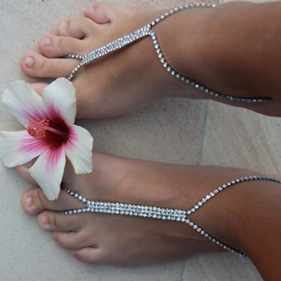 Mariage - Silver Rhinestone Barefoot Sandals, Boho Style, Belly Dancing footwear, Formal, Prom, Beach shoes, Bohemian party. Style: 'Carmana B1405'