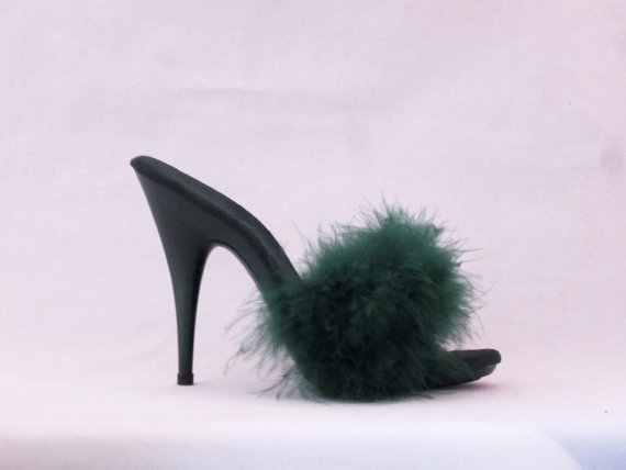 Wedding - VIP 5 inch Handmade Forest Green Marabou Boa Slippers High Heel Sandals Woman Shoes (Other Platform Heights Available!)