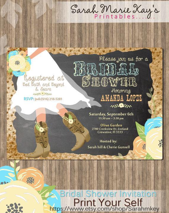 Hochzeit - Cowboy Boot's Bridal Shower Printable Invitation Roses Chalkboard