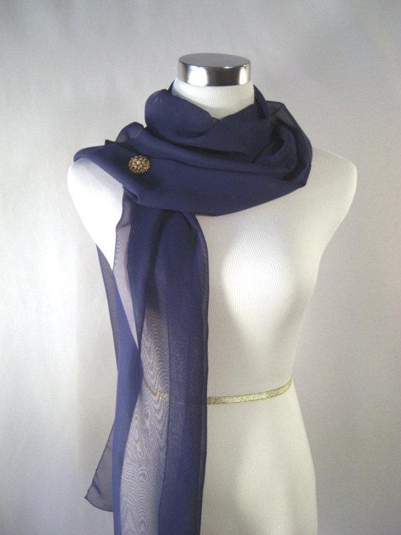 Wedding - SALE - Wedding Scarf - Bridal Scarf -  Bridesmaid Scarf - Evening Wrap - Extra Long Dark Royal Blue Cobalt Silky Chiffon