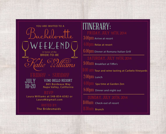 Wedding - Bachelorette Party Weekend invitation and itinerary custom printable 5x7