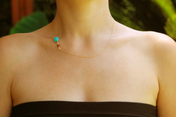 Wedding - Turquoise necklace, gold rose necklace, Asymmetric necklace, turquoise jewelry, coral necklace, turquoise bridesmaid necklace, rose gold