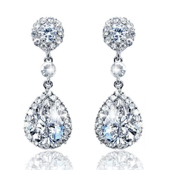 """Wedding - Bridal Earrings """"Cubic Zirconia""""  Wedding Earrings Wedding Jewelry Bridal Jewelry Drop Earrings Style-583"""