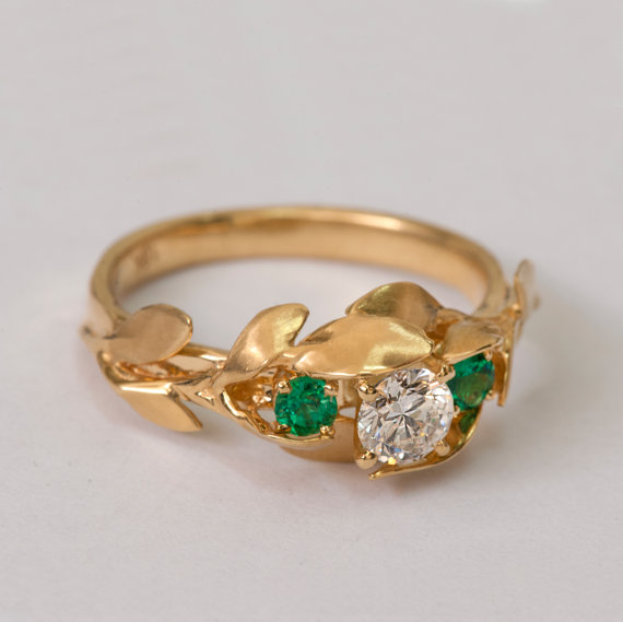 Leaves Engagement Ring No 8 14K Gold And Diamond Engagement Ring