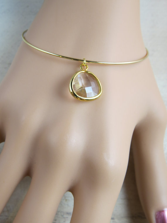 Свадьба - Wedding jewelry, personalized jewelry, bridesmaid bangle, wedding bracelet, minimalist bracelet, gold bangle,  crystal bracelet, charm