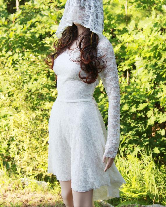 زفاف - Ivory wedding dress-wedding gown dress-hoodie wedding dress
