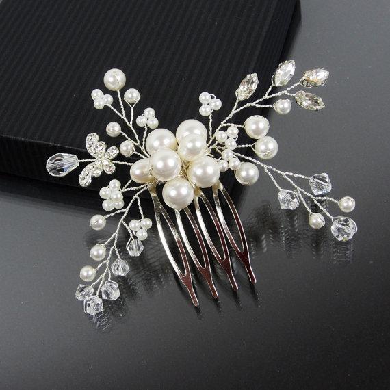 زفاف - Bridal Hair Comb, AMELIE Hair Comb, Bridal hairpiece, Wedding hair accessories, Bridal Headpieces, Rhinestone hair comb bridal